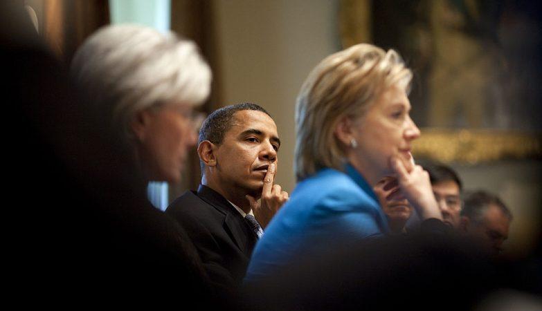 Barack Obama com Hillary Clinton