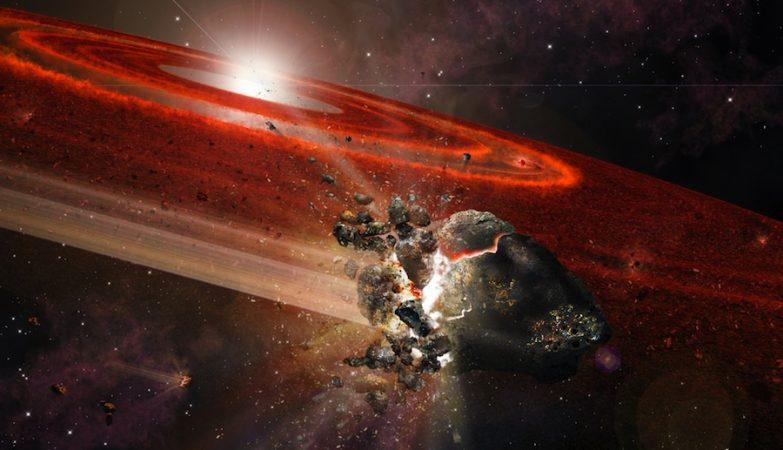 """Impressão de artista do disco de detritos em torno de HD 107146. Este sistema estelar adolescente mostra sinais de que nos seus confins, enxames de objectos com o tamanho de Plutão empurram objectos vizinhos mais pequenos, fazendo com que estes colidam e """"levantem"""" poeira considerável."""