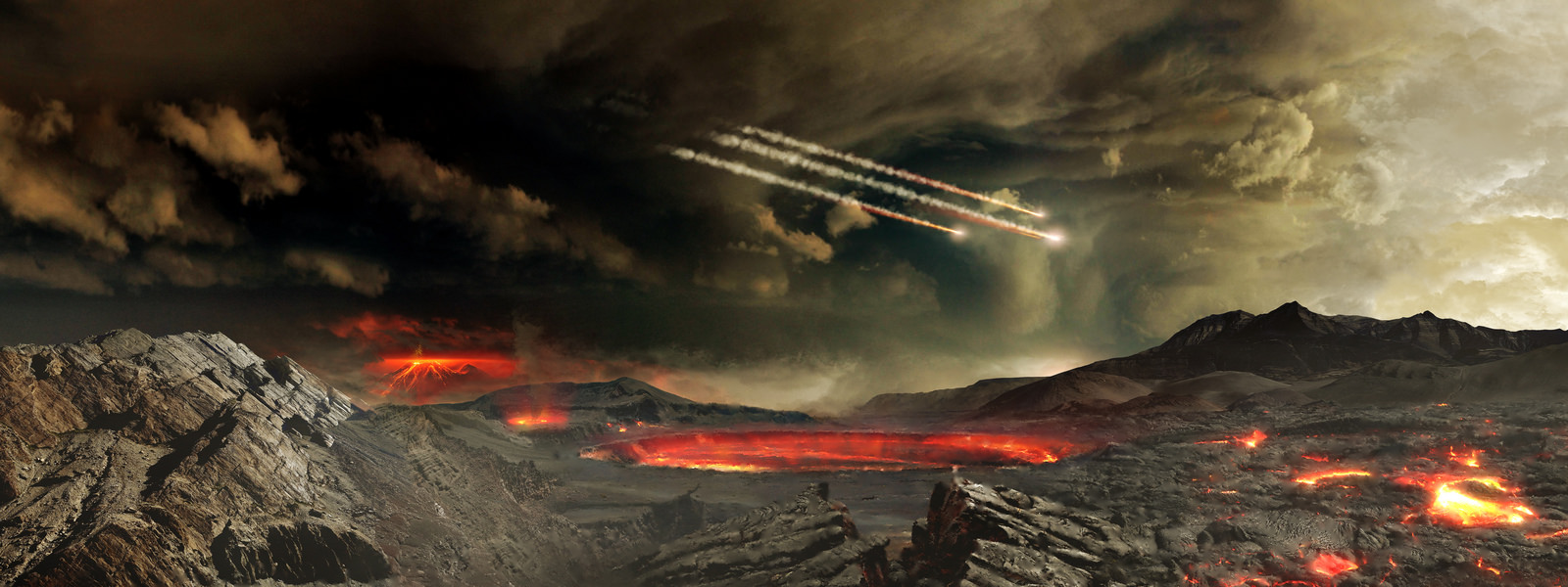 Uma jovem Terra, bombardeada por asteróides