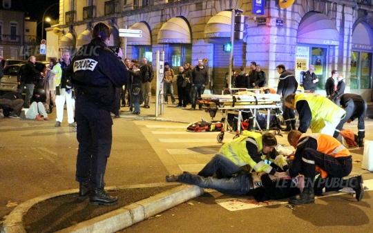 O primeiro dos cinco locais do ataque em Dijon