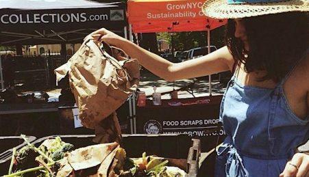 Todas as semanas, Lauren leva o seu lixo orgânico para ser transformado em adubo