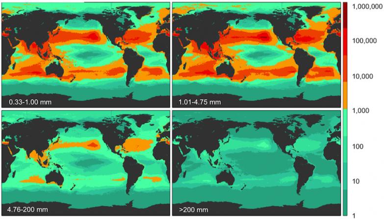 Resultados da contagem de densidade global de plásticos em 4 diferentes granularidades