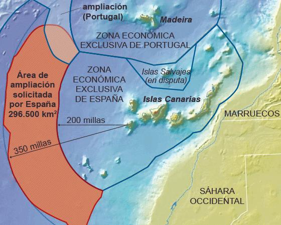O pedido de ampliação do território marítimo de Espanha. (fontes: Instituto Geológico e Minero de España e Governo de Portugal, infografia cortesia El País)