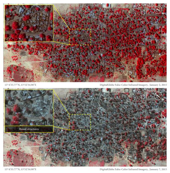 Imagem de satélite da localidade de Doro Gowon, no nordeste da Nigéria, mostra a devastação depois dos ataques do Boko Haram. Os pontos a vermelho são casas e edifícios.