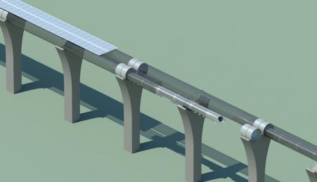 Os tubos do Hyperloop são sustentados em pilares colocados a cada 30 metros formando uma corrente contínua entre duas estações e alimentados por energia solar