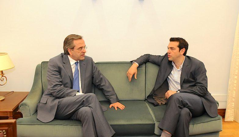 O primeiro-ministro da Grécia, Antonis Samaras, do Partido Nova Democracia, com o líder do Syriza, Alexis Tsipras
