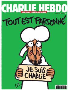 Capa da primeira edição do Charlie Hebdo após o atentado, divulgada na véspera pelo Liberation