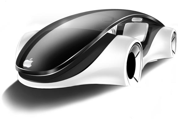Conceito artístico de um iCar, o automóvel da Apple, conforme imaginado pelo designer industrial italiano Franco Grassi