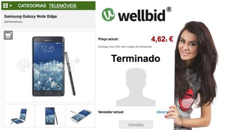 Leilão de um Samsung Galaxy Note Edge no Wellbid