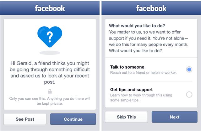 Facebook: sistema de alerta suicídio