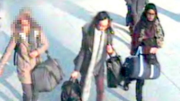 As três jovens britânicas desaparecidas: Shamima Begum, de 15 anos, Kadiza Sultana, de 17 anos, e Amira Abase, de 15 anos
