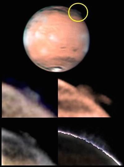A imagem de topo mostra a posição da misteriosa pluma de Marte, identificada dentro do círculo amarelo (sul no topo), bem como diferentes imagens que mostram a mudança de aspeto, obtidas por W. Jaeschke e D. Parker no dia 21 de março de 2012.