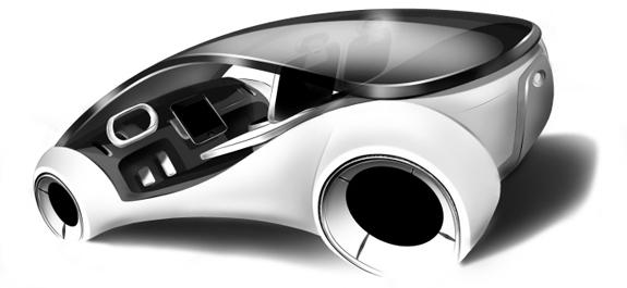 Conceito artístico do iCar, o automóvel da Apple, conforme imaginado pelo designer industrial italiano Franco Grassi