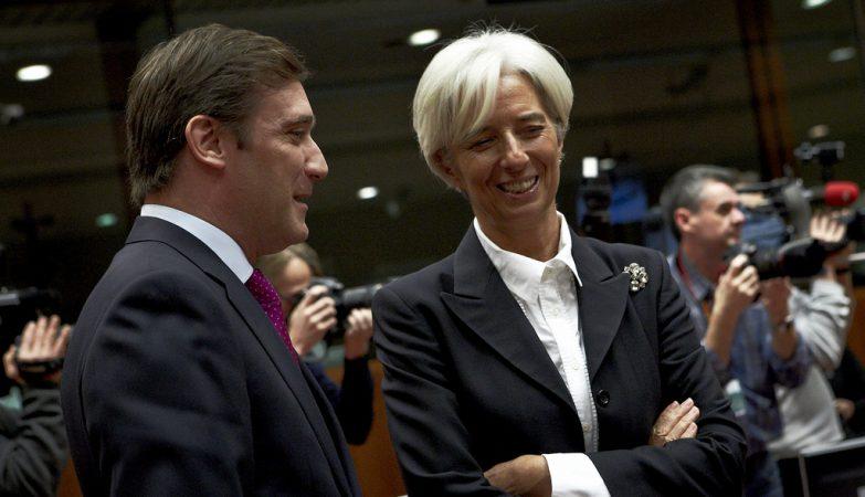 O primeiro-ministro Pedro Passos Coelho com a directora-geral do FMI, Christine Lagarde