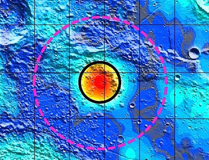As bordas da cratera foram fortemente alteradas, tornando-a irreconhecível.