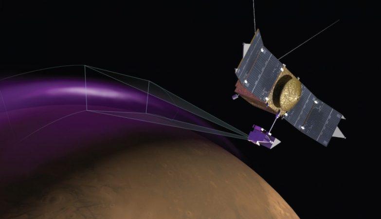 """Conceito artístico do Imaging UltraViolet Spectrograph (IUVS) da MAVEN a observar a """"aurora"""" de Marte"""