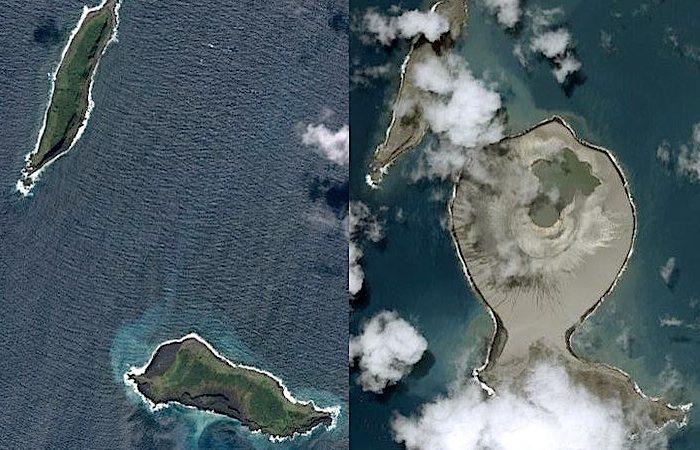 Imagens de satélite mostram o local antes e depois da erupção, onde existe agora uma formação rochosa com uma cratera no centro