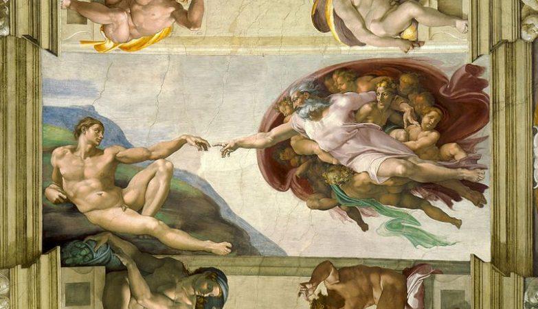 """""""A criação de Adão"""", fresco de Michelangelo pintado no teto da Capela Sistina, no Vaticano"""