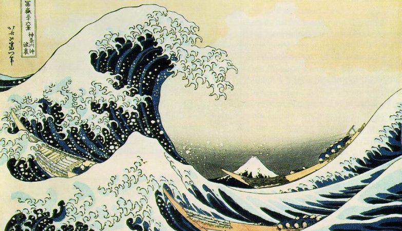 Debaixo da Onda de Kanagawa, ilustração de Katsushika Hokusai, 1823