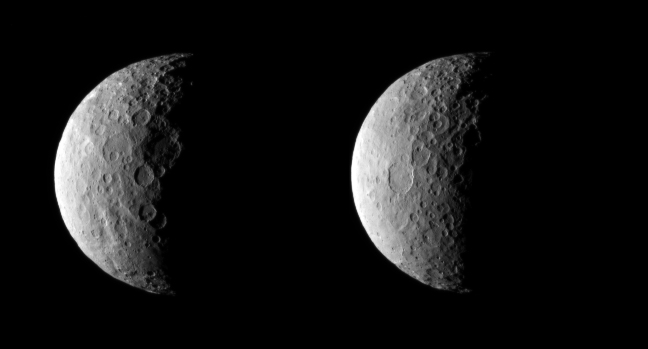 A sonda Dawn da NASA capturou estas imagens do planeta anão Ceres a cerca de 40.000 km de distância no dia 25 de fevereiro de 2015. Parte de Ceres está à sombra devido à posição atual da sonda em relação ao planeta anão e ao Sol.