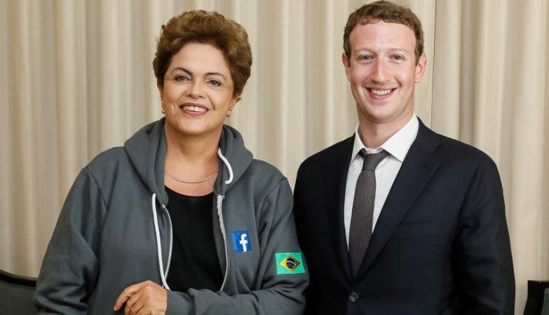 A presidente do Brasil, Dilma Rousseff, com o fundador do Facebook, Mark Zuckerberg