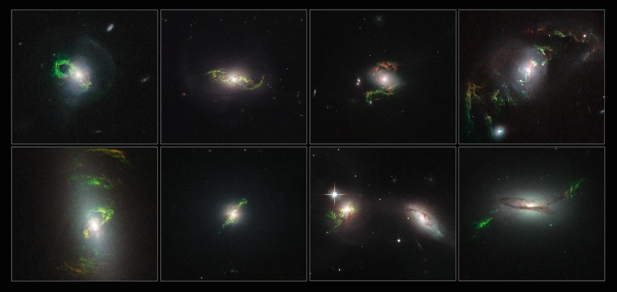 """Galáxias, da esquerda para a direita na linha superior: o """"Bule de Chá"""" (conhecida formalmente como 2MASX J14302986+1339117), NGC 5972, 2MASX J15100402+0740370 e UGC 7342. Na linha inferior: NGC 5252, Mrk 1498, UGC 11185 e 2MASX"""