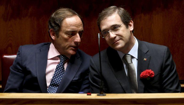 Os presidentes do CDS-PP, Paulo Portas, e do PSD, Pedro Passos Coelho
