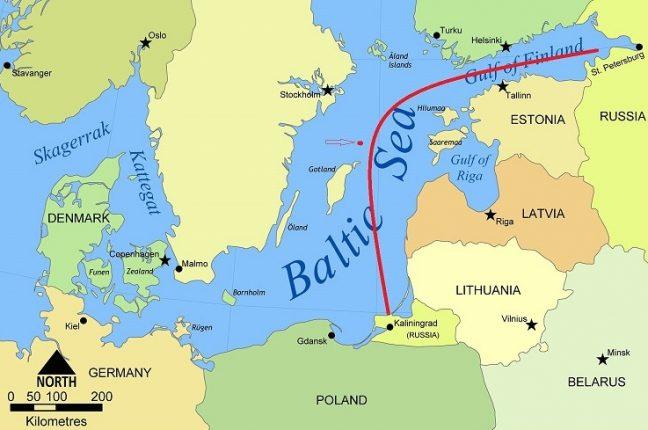 Mapa da Polónia com o enclave russo de Kaliningrado