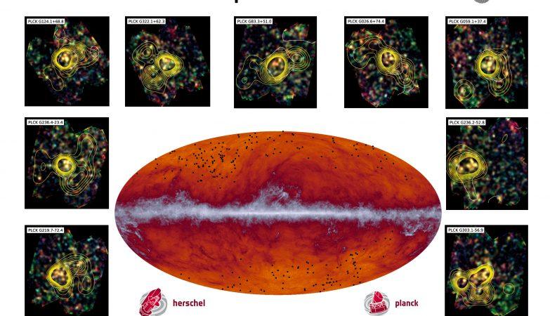 As concentrações de galáxias no Universo distante que podem ser precursoras dos aglomerados de galáxias que vemos atualmente