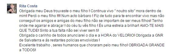 Facebook Rita Costa, mãe do jovem de Salvaterra de Magos morto