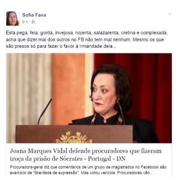 Sofia Fava critica Procuradora no Facebook