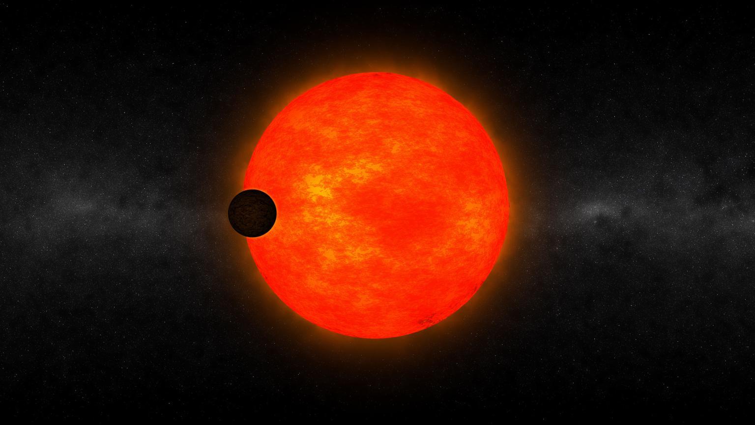 Conceito artístico da estrela HATS-6 e do exoplaneta HATS-6b.