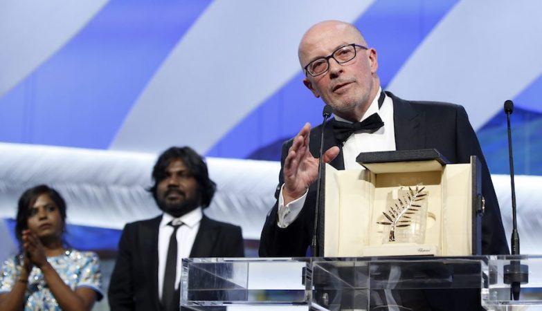 O realizador francês Jacques Audiard na cerimónia de encerramento do Festival de Cannes 2015
