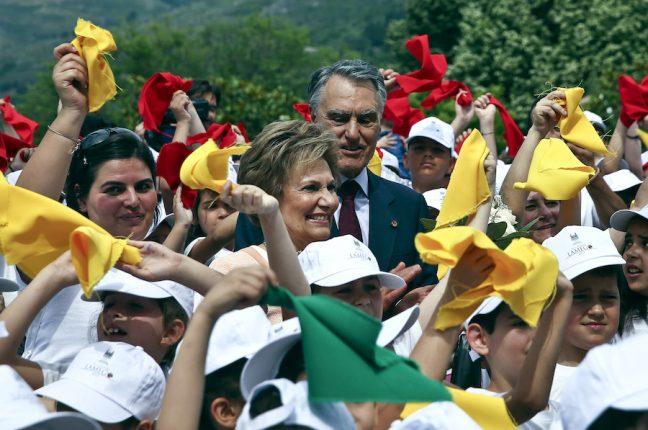 Aníbal e Maria Cavaco Silva durante a cerimónia militar das comemorações do 10 de junho em Lamego