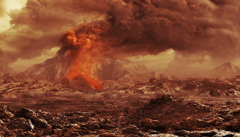 Conceito artístico da superfície de Vénus. O planeta gerou uma superfície nova depois de uma inundação cataclísmica de lava há 500 milhões de anos