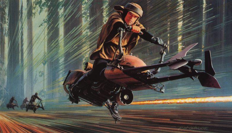 Conceito artístico da moto jet de Star Wars por Ralph McQuarrie
