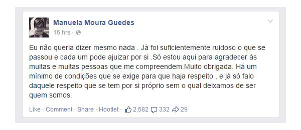 Mensagem de Manuela Moura Guedes no Facebook