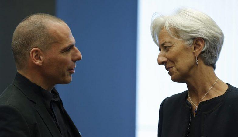 O ministro das Finanças da Grécia, Yanis Varoufakis, com a presidente do FMI, Christine Lagarde