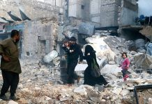 Bombardeamento em Aleppo, na Síria