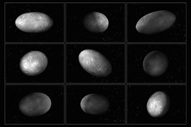 Este conjunto de ilustrações da lua de Plutão, Nix, mostra como a orientação muda imprevisivelmente à medida que orbita o sistema Plutão-Caronte. São baseadas numa simulação computacional que calculou o movimento caótico das quatro luas mais pequenas do sistema. Os astrónomos usaram esta simulação para tentar compreender as mudanças na luz refletida por Nix à medida que orbita Plutão-Caronte. Também descobriram que outra lua de Plutão, Hidra, tem igualmente uma rotação caótica. A forma alongada de ambas as luas contribui para o seu movimento selvagem.