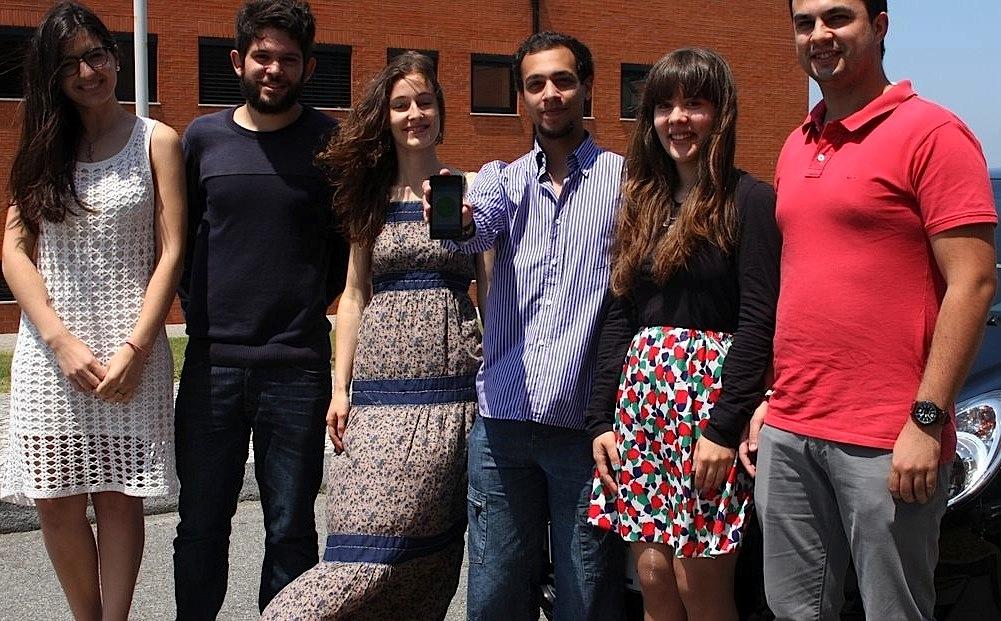 A equipa que desenvolveu a app - Ana Carpinteira, João Flora, Sara Loureiro, Duarte Horta, Ana Barbosa e João Santos