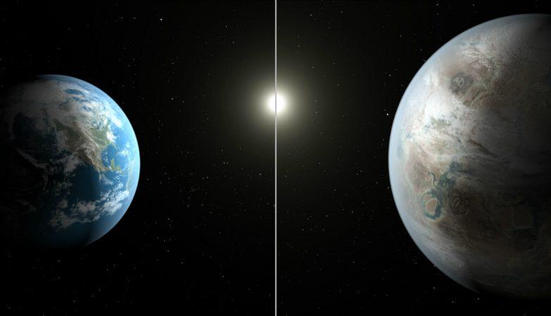 A Terra, à esquerda, comparada ao novo exoplaneta, o Kepler-452b, com um diâmetro cerca de 60% maior