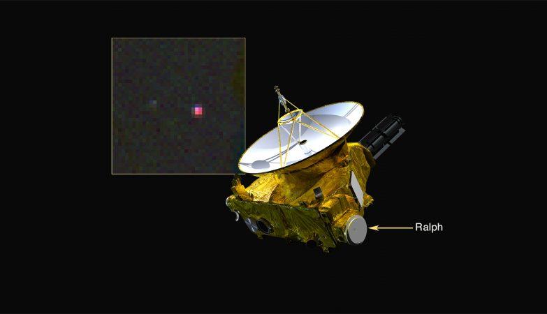 A localização do instrumento Ralpha da New Horizons, que detetou metano em Plutão. A inserção é uma imagem a cores falsas de Plutão no infravermelha; o tom rosa indica a presença de metano à superfície do planeta anão.