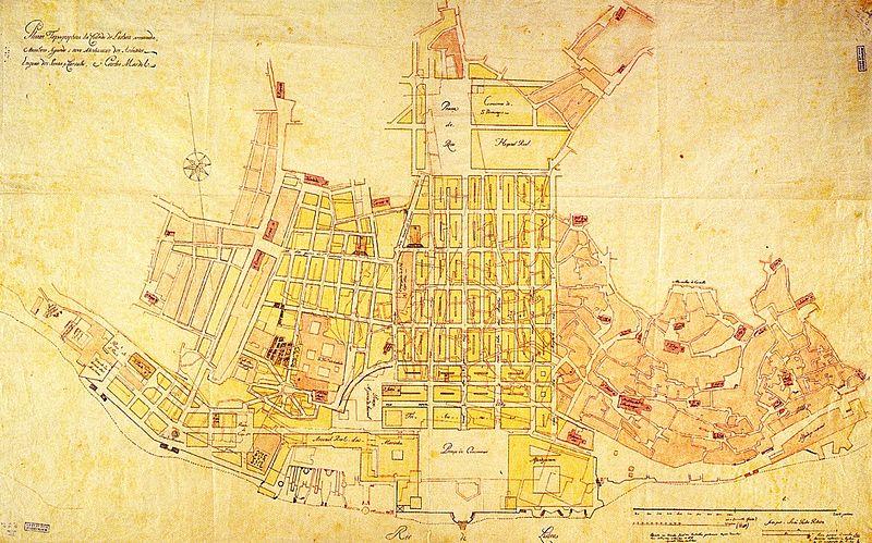 Mapa de Lisboa em 1755 da autoria do engenheiro-coronel Carlos Mardel e do capitão Eugenio dos Santos