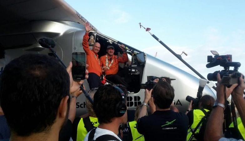 André Borschberg (D) e Bertrand Piccard (E), pilotos do Solar Impulse 2