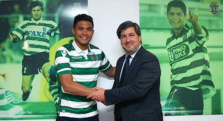 Teófilo Gutiérrez com o presidente do Sporting, Bruno de Carvalho