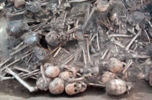 Os restos de 97 corpos humanos encontrados em Hamin Mangha, na China