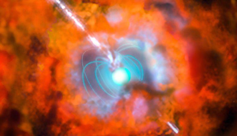Impressão artística que mostra uma supernova e a explosão de raios-gama associada originadas por uma estrela de neutrões em rotação muito rápida com um campo magnético muito forte — um objeto exótico chamado estrela magnética.