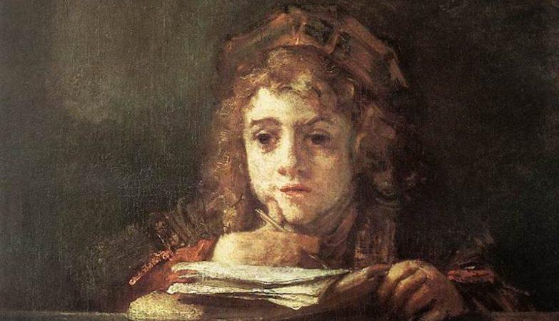 Titus na sua secretária, óleo de Rembrandt, 1655