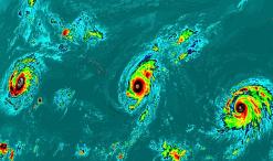 Kilo, Ignácio e Jimena, pela primeira vbez na história, 3 furacões de grau 4 em simultâneo no Pacífico